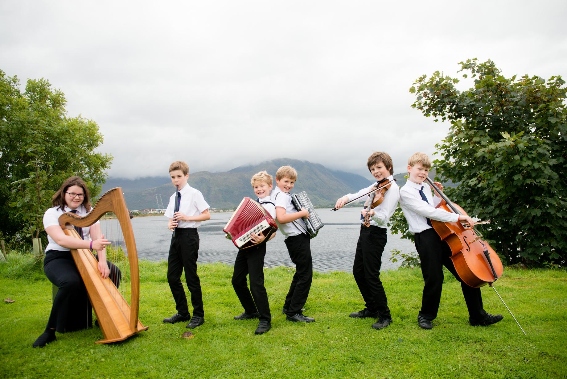 (L-R) Ciara MacDonald (11), Owen MacRaild (9), Shane O'Rua (10), Arran Stephen (10), Seumas MacFarlane (10), Seumas Stevenson (9)